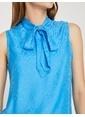 Koton Desenli Kolsuz Bluz Mavi